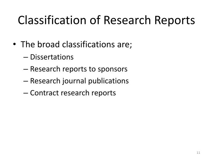 Classification of Research Reports