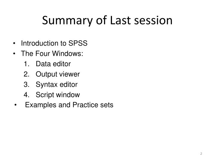 Summary of Last session