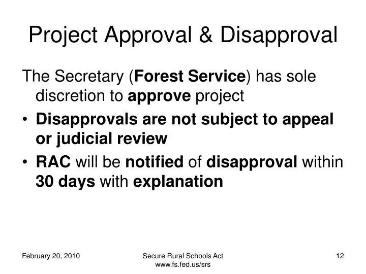 Project Approval & Disapproval