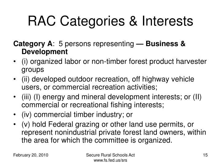 RAC Categories & Interests