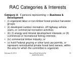 rac categories interests