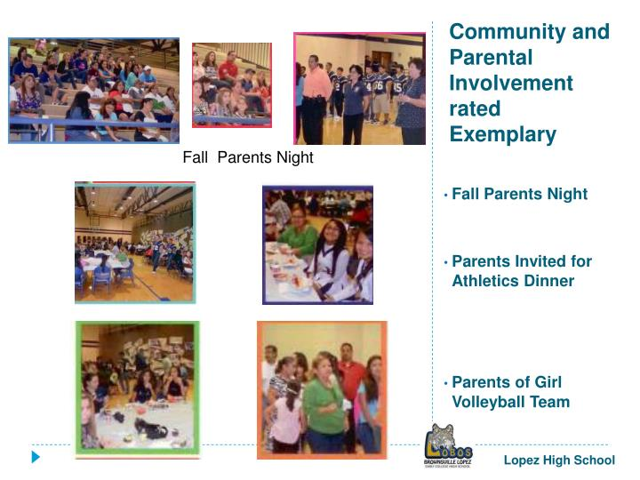 Community and Parental Involvement rated Exemplary