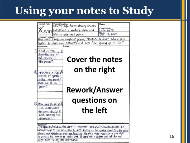 Using your notes to Study