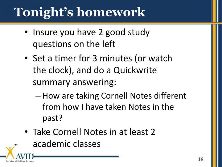 Tonight's homework