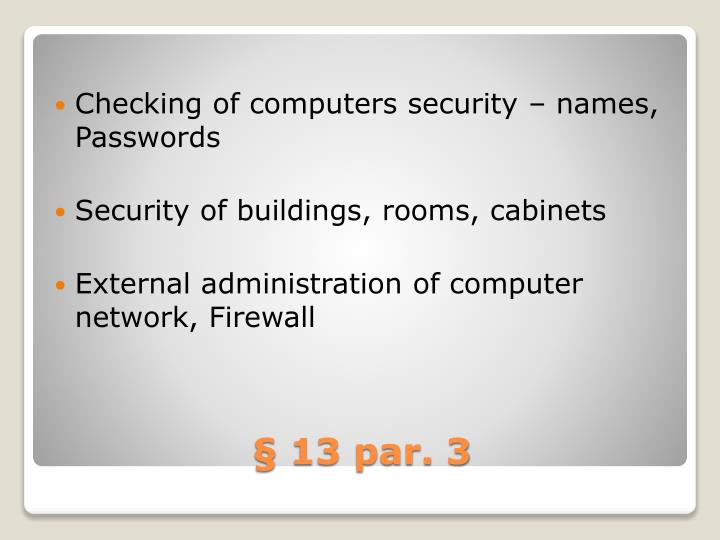 Checking of computers security – names