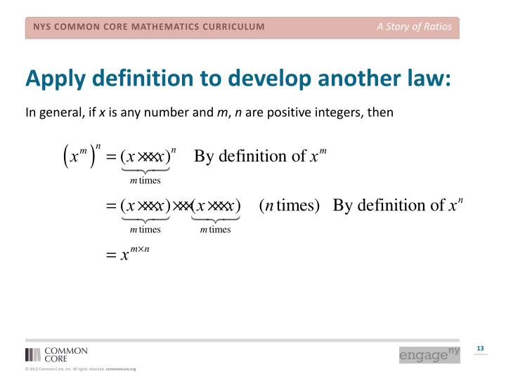 Apply definition to develop another law: