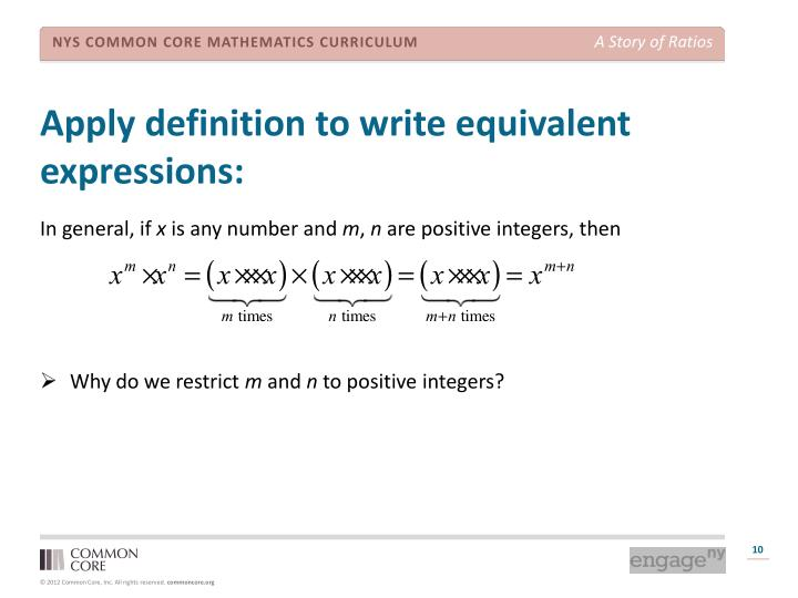 Apply definition to write equivalent expressions: