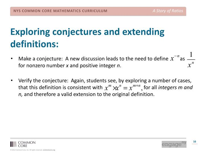 Exploring conjectures and extending definitions:
