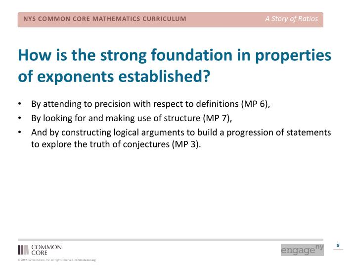 How is the strong foundation in properties of exponents established?