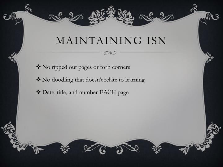 Maintaining ISN
