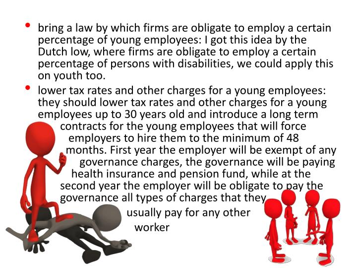bring a law by which firms are obligate to employ a certain percentage of young employees