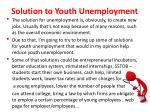 solution to youth unemployment
