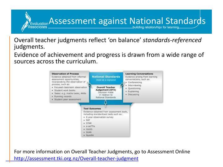 Assessment against National Standards