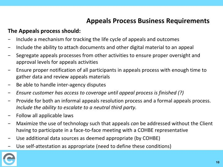 Appeals Process Business Requirements