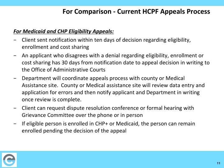 For Comparison - Current HCPF Appeals Process