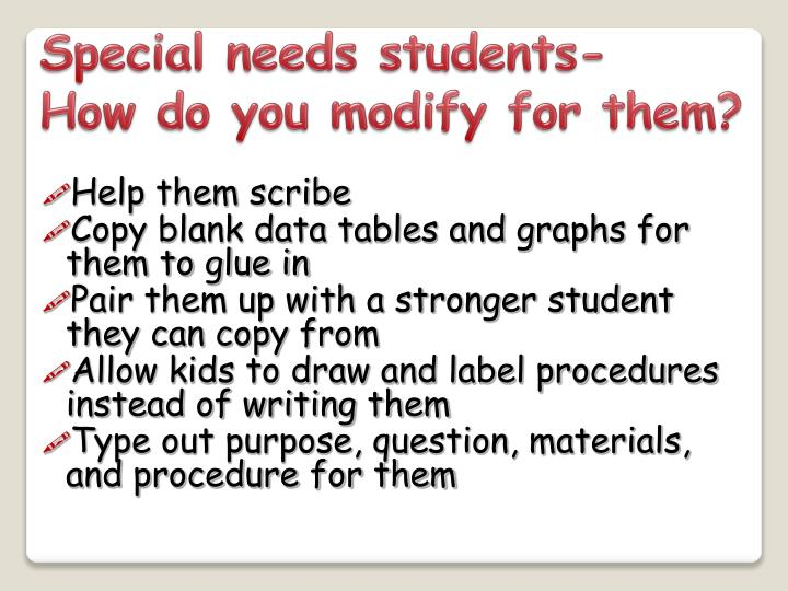 Special needs students-