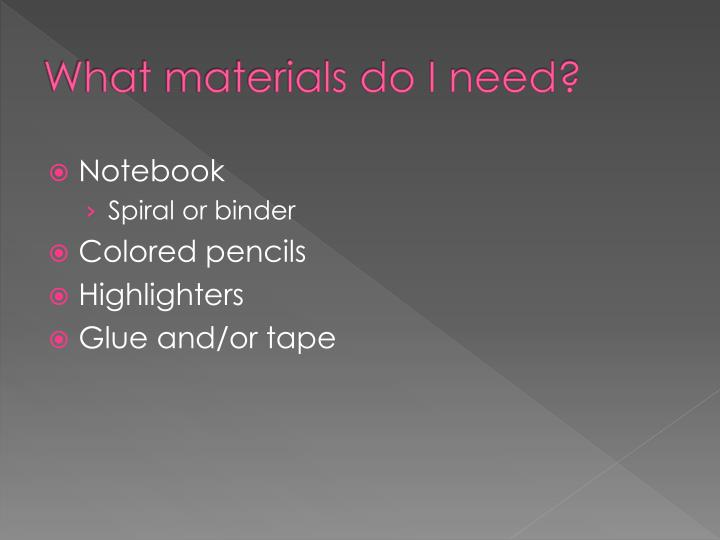 What materials do I need?
