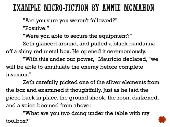 Example Micro-Fiction by Annie McMahon