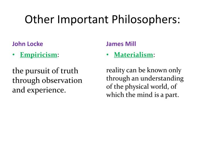Other Important Philosophers: