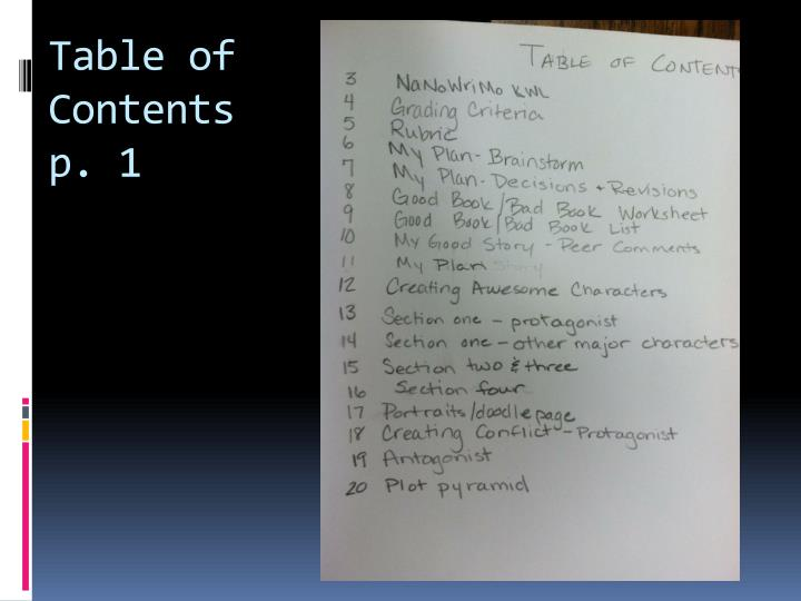 Table of contents p 1