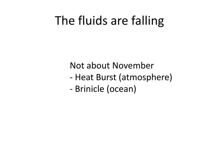 The fluids are falling
