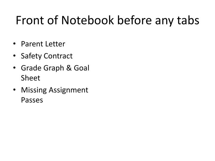 Front of Notebook before any tabs