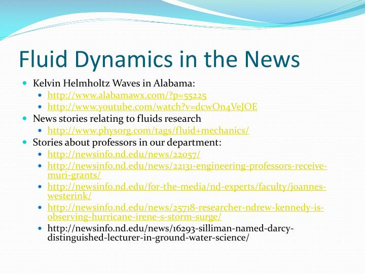 Fluid Dynamics in the News