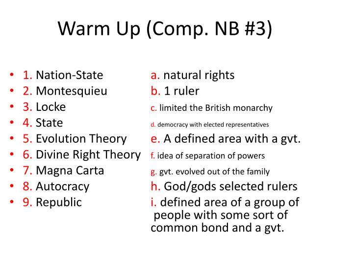 Warm Up (Comp. NB #3)