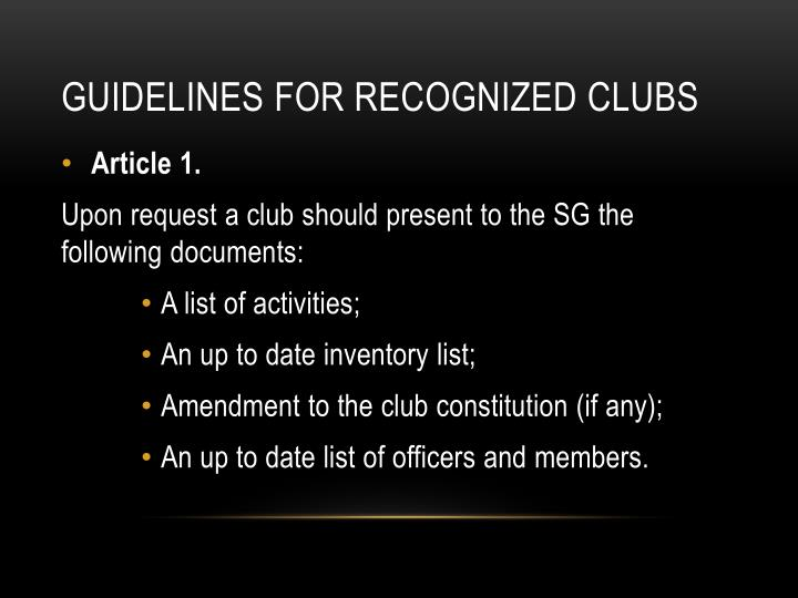 Guidelines for recognized clubs