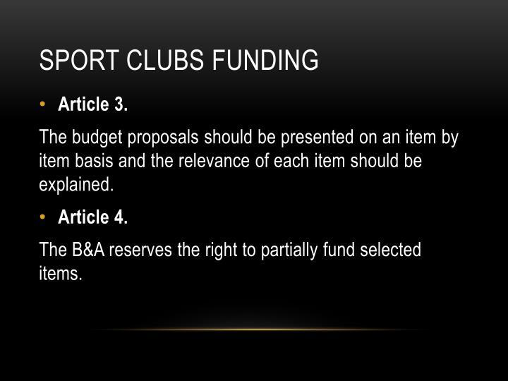Sport clubs Funding