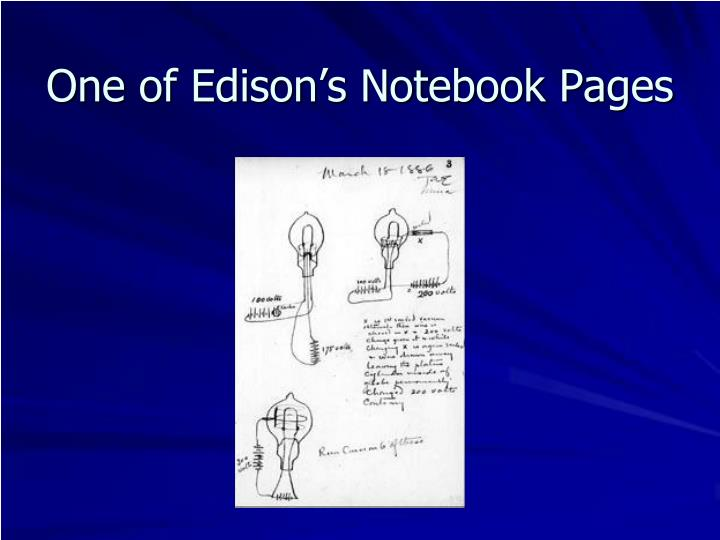 One of Edison's Notebook Pages