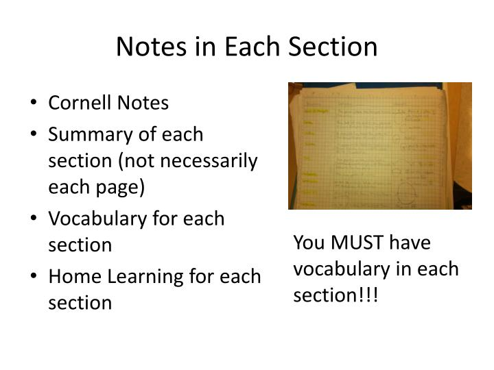 Notes in Each Section