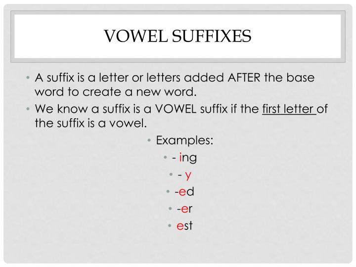 Vowel suffixes