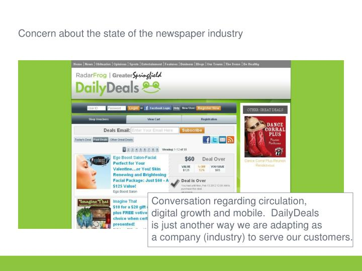 Concern about the state of the newspaper industry