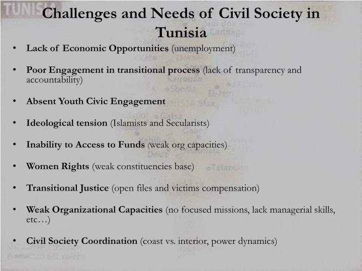 Challenges and Needs of Civil Society in Tunisia