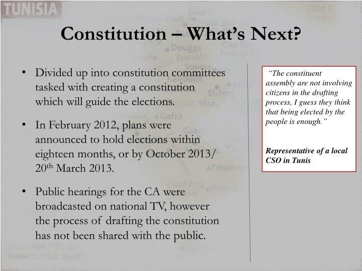 Constitution – What's Next?