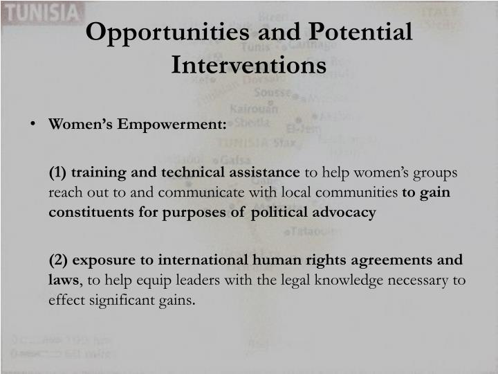 Opportunities and Potential Interventions
