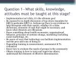 question 1 what skills knowledge attitudes must be taught at this stage