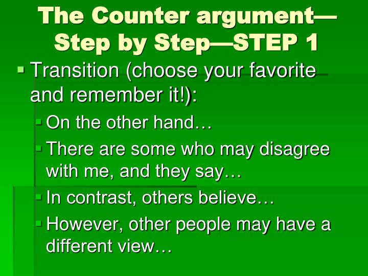 The Counter argument—Step by Step—STEP 1