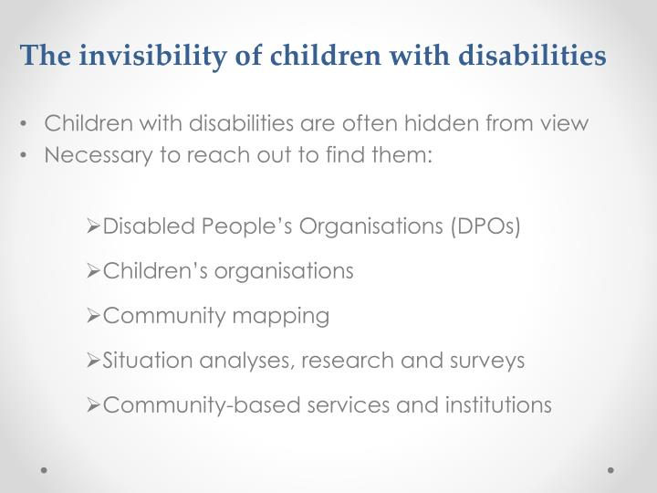The invisibility of children with disabilities
