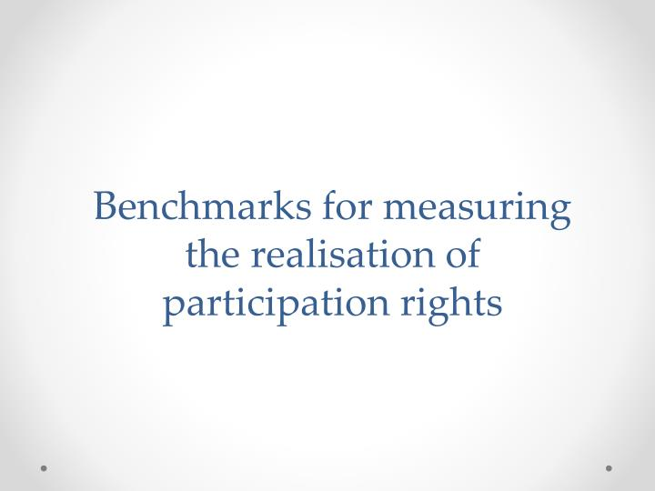 Benchmarks for measuring the