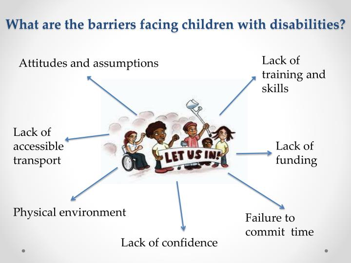 What are the barriers facing children with disabilities?