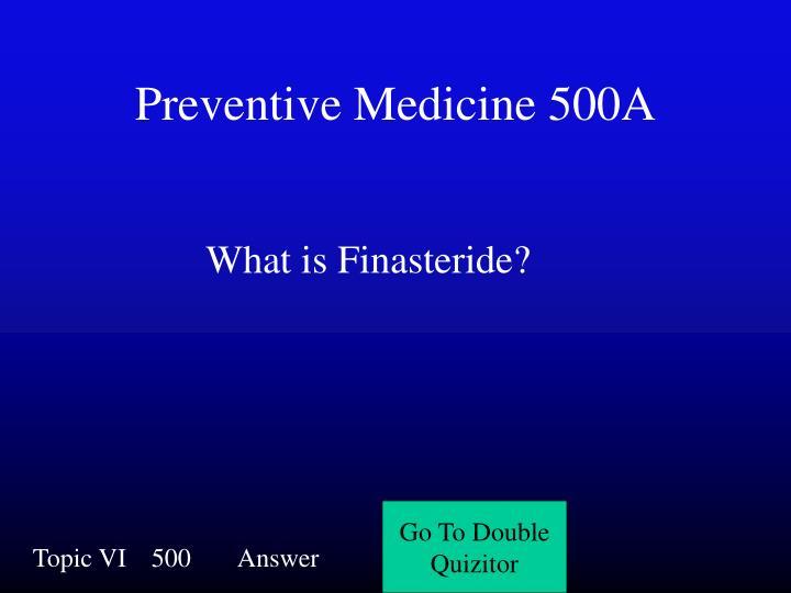 Preventive Medicine 500A