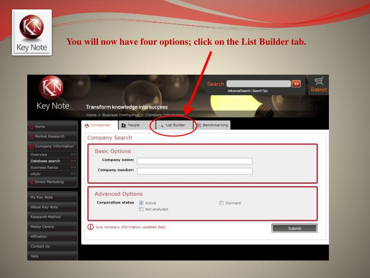 You will now have four options; click on the List Builder tab.