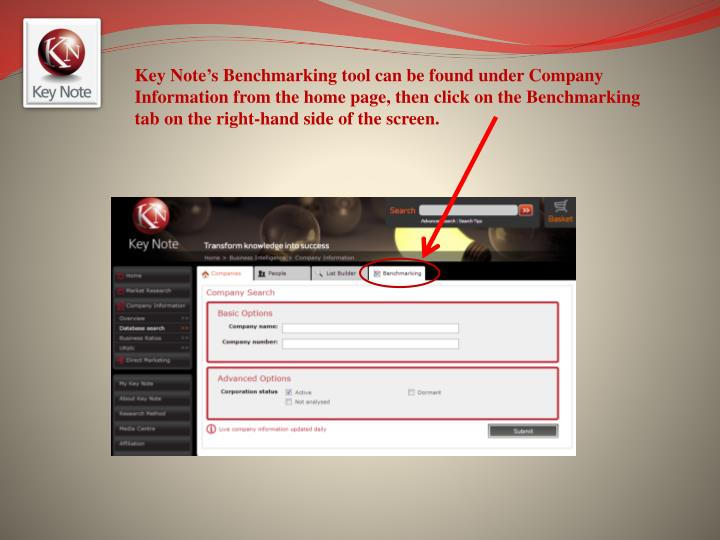 Key Note's Benchmarking tool can be found under Company Information from the home page, then click on the Benchmarking tab on the right-hand side of the screen.