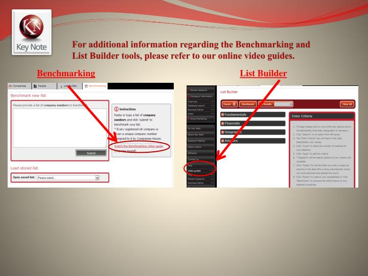 For additional information regarding the Benchmarking and List Builder tools, please refer to our online video guides.