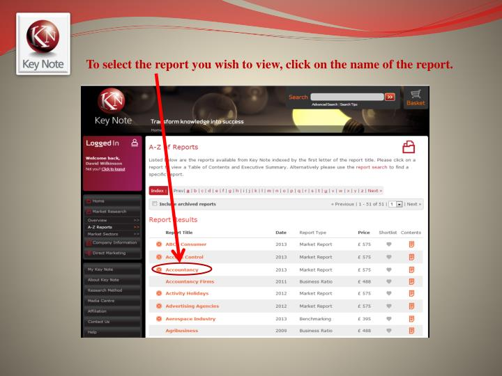 To select the report you wish to view, click on the name of the report.