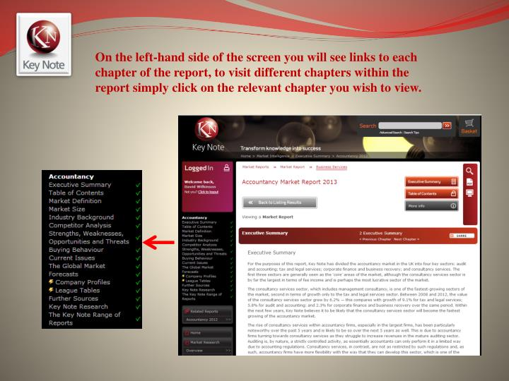 On the left-hand side of the screen you will see links to each chapter of the report, to visit different chapters within the report simply click on the relevant chapter you wish to view.