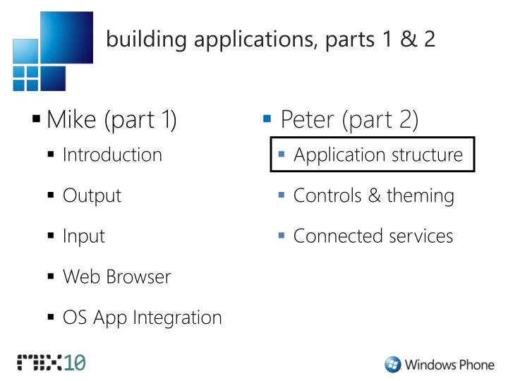 building applications, parts 1 & 2