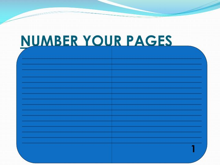 NUMBER YOUR PAGES